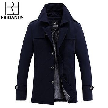New Jacket Men's Winter Windbreakers Trench Coat Thick Autumn Wool Jackets Overcoat Casual