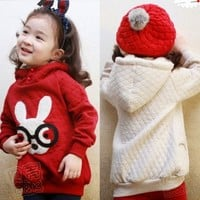 Girl's Kids Coats Sweats Hooded Rabbit with Glasses Outwear Faux Lamb Fur Tops