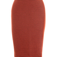 Persimmon Houndstooth Pencil Skirt