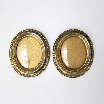 Vintage pair of oval gold enamel gilt metal frames with convex glass