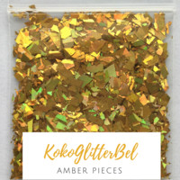 Holographic Glitter Pieces- Amber