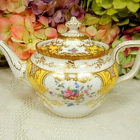 Stunning Coalport Porcelain Teapot ~ Y2480 Floral Yellow Panel Gold Encrusted