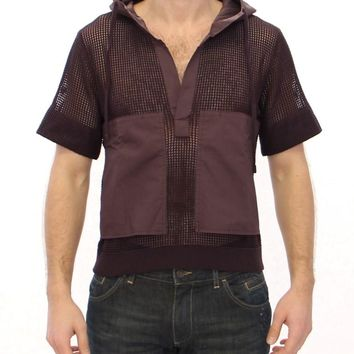 Brown fishnet cotton hoodie t-shirt