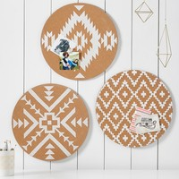 Round Boho Colorblock Cork Board, Set of 3