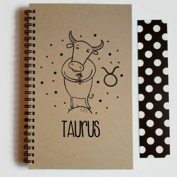 Writing journal, spiral notebook, cute diary, small sketchbook, scrapbook, memory book, 5x8 journal - Taurus, zodiac sign, astrology