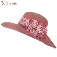 [Xthree] chapeu feminino sun hat for women Design Flower Foldable summer hat beach Vintage Sinamay Fascinator