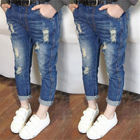 Children Broken Hole Pants baby girl clothes 2017 Baby Boys Girls Jeans For Kids Fashion Kids Trousers Summer Children Clothes