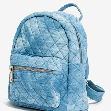 Quilted Mini Denim Backpack