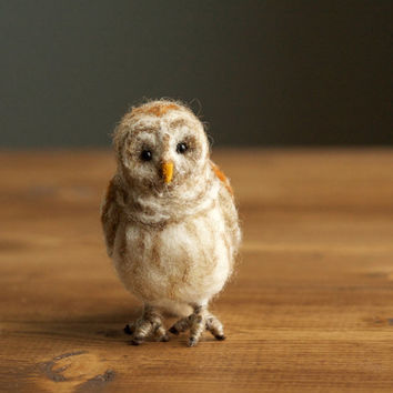 Needle Felted Miniature Barred Owl, Soft Sculpture, Felt Owl, Fall, Autumn, Winter Decor, Nature Gift, Woodland Home Decor, Nature Inspired