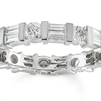 Ladies Platinum Round Diamond and Baguette band 1.50 ctw G-VS2 diamonds