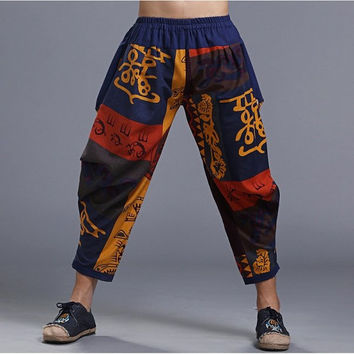 Mens Harem Rock Panting Loose Casual Cotton Flax Ninth Pants