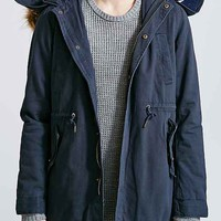Native Youth Sherpa Long Fishtail Parka Jacket- Navy