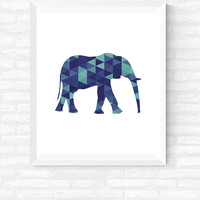 Geometric elephant, Printable wall art, Scandinavian print, Turquoise decoration, Animal print, Elephant Print, Elephant Art, 8x10, 24x30