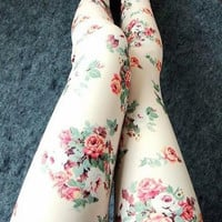 Leggings with floral pattern