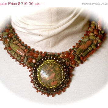 ON SALE Beaded Cabachon, Unakite Cabachon, Peridot Seed Beads, AB Brown, Carnelian,Brown Triangle Seed Beads