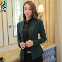 Green Blazer Femmes Casual Office Wear Jacket Women Clothes 2017 Spring Autumn Long Sleeve Notched Vogue Blazers Jackets S-4XL