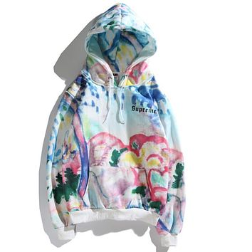 "Hot Sale ""Supreme"" Popular Women Men Loose Landscape Hooded Watercolor Painting Tie-Dye Sweater Sweatshirt Top I12730-1"