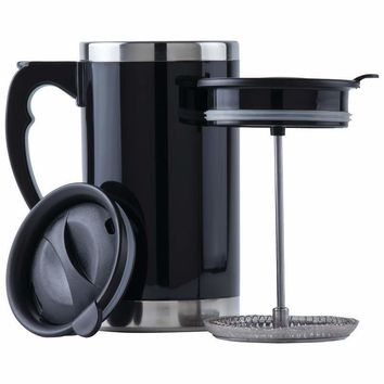 21oz Stainless Steel, Double-Wall Travel French Press Mug
