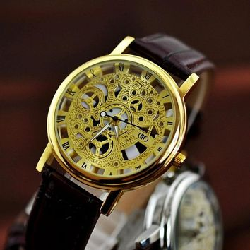 vintage leather strap automatic mechanical watch men 2