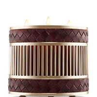 WOVEN VEGAN LEATHER3-Wick Candle Sleeve