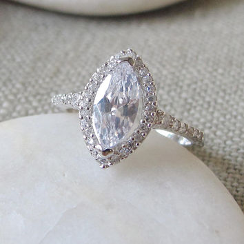 Cubic Zirconia Engagement Ring- Halo Ring- Promise Ring- Art Deco Ring- Stone Ring- Wedding Ring- Marquise Ring- Bridal Ring- Silver Ring