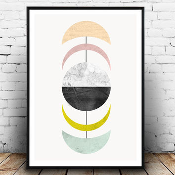 Abstract art, Geometric print, Mobile art, marble decor, Wall print, Watercolor art, Scandinavian design, Mid century modern, retro poster