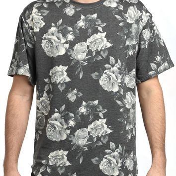 Elongated Floral Tee in Gray
