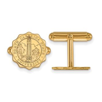 NCAA 14k Gold Plated Silver North Carolina State Univ Crest Cuff Links