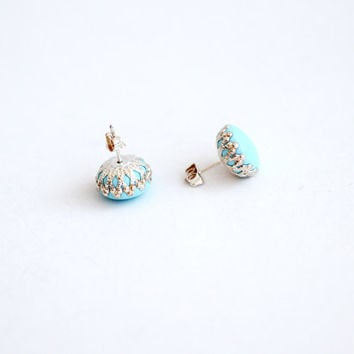 Light blue earring studs, nickel free, polymer clay post with silver colored  filigraine setting, simple earrings