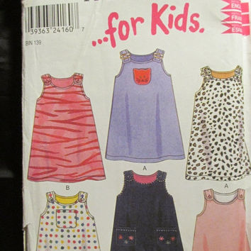 SALE Uncut Simplicity New Look Sewing Pattern, 6022! 2-3-4-5-6-7 Toddlers/Girls/Kids/Child Sleeveless Jumper/Sun Dress/Summer/Spring/Casual