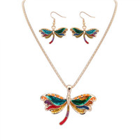 Gold Color Dragonfly Decorated Jewelry Set