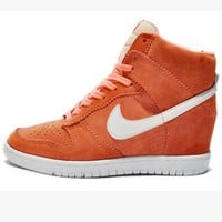NIKE Hidden Heel Charm High Boots Height Increasing Women Sneakers Shoes Orange