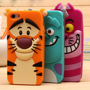 For iPhone 5 5S SE 6 6S 6 PLUS 3D Cartoon Sulley tiger Alice cat soft silicon back cover Phone case For iPhone 6S PLUS