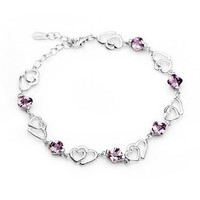 Beautiful Amethyst Bracelet Heart Designed Sterling Silver Jewelry