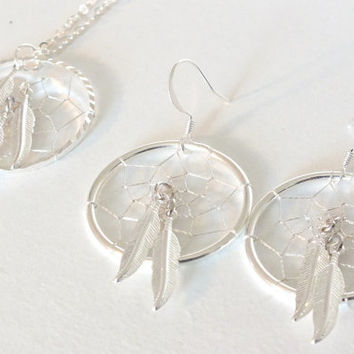 Three Feather Native American Inspired Dreamcatcher Necklace and Earring Set, spiritual necklace, silver feather jewelry, silver necklace