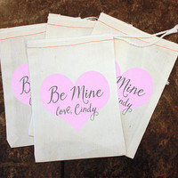 Valentine's Day Candy Bags - Classroom Valentine Party / Kids Be Mine Card Replacement / Personalized Heart Treat Bag / Girls Class Gift