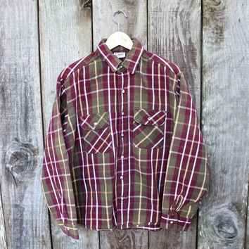 Vintage Five Brother Olive/Burgundy Plaid Rustic Button Up Shirt Mens Retro Workwear Size Large