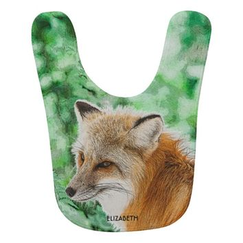 Cute Wild Red Fox Drawing Bib