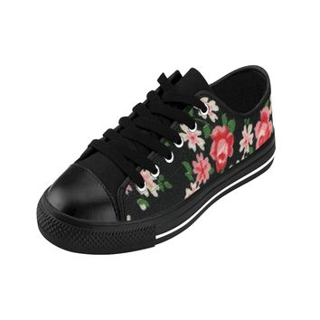 Pretty Floral Women's Sneakers Tennis Shoes with Vintage Flower Print