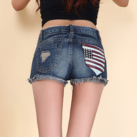 New 2016 summer vintage ripped denim shorts for women slim american flag embroidery hole shorts jeans feminino