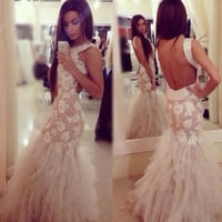 Mermaid Prom Dresses,White Prom Dress,Long Evening Dress