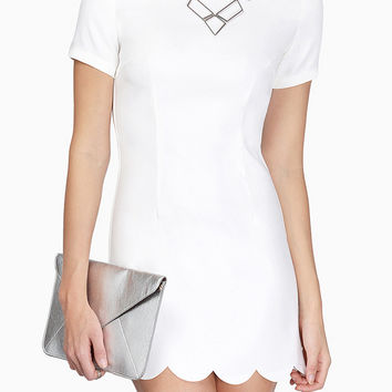 White Short Sleeve Scalloped Hem Mini Dress