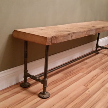 Barn Wood Rustic Bench 4 Foot Reclaimed Salvaged Barnwood Industrial Farm House Urban Black Iron Pipe Antique Primitive Mud Room Entry Foyer