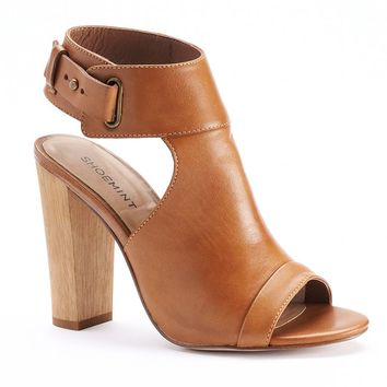 ShoeMint Cole Women's Suede Peep-Toe High Heel Sandals