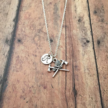 Firefighter initial necklace - fireman necklace, gift for firefighter, silver fire helmet necklace, fire department jewelry