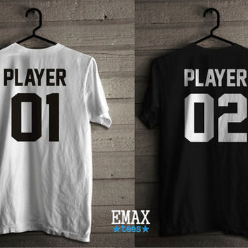 Player 01 Player 02 Couples Shirts, Matching T-shirts Unisex 100% Cotton, Player Couples Tees