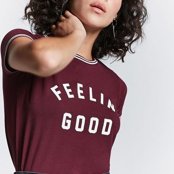 Feelin Good Graphic Ringer Tee