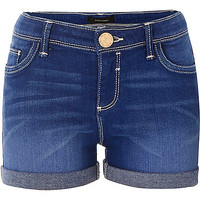 River Island Girls bright blue denim shorts