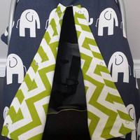 Infant car seat cover, Infant car seat canopy, Baby car seat canopy, Baby car seat cover, Carrier Cover, Infant Carrier, Elephant, chevron