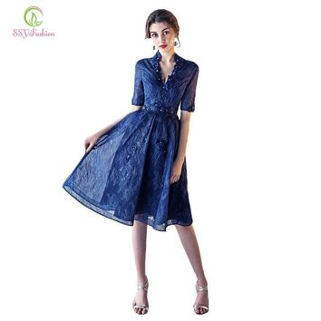 SSYFashion 2017 New Elegant Navy Blue Lace Cocktail Dress The Bride Banquet Half Sleeves A-line Knee-length Party Formal Gown